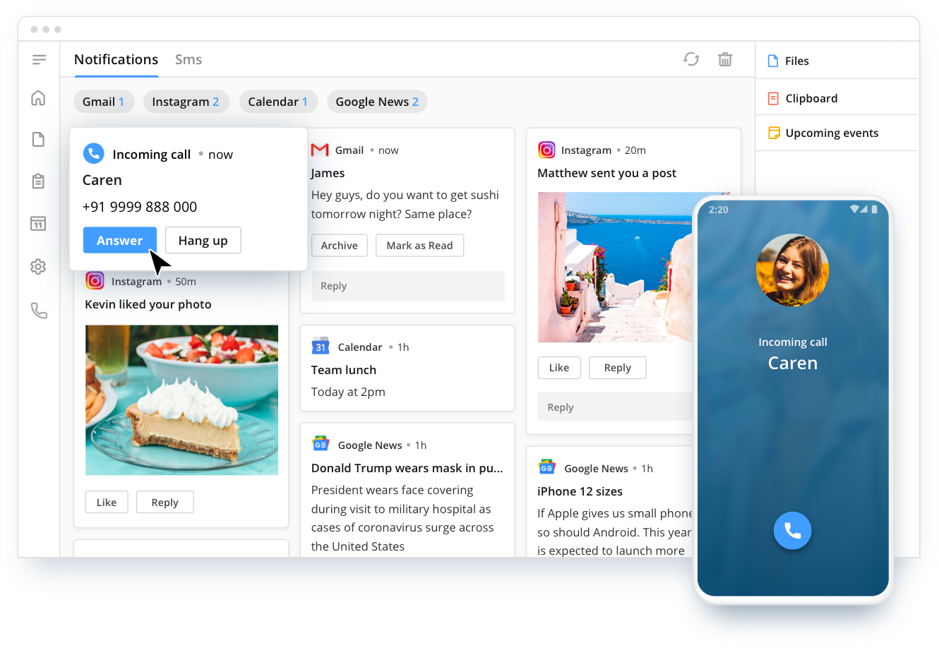 Crono brings all your notifications, phone calls, Whatsapp messages, straight to your PC —s that you spend less time on your phone.